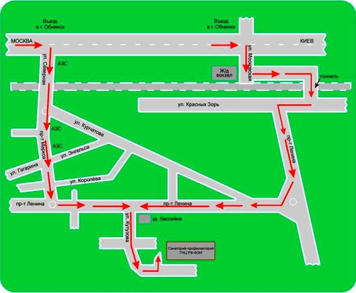Далее на пр. Ленина до бассейна (Ленина, 93), далее поворот на п.Мирный (Пионерский пр. Печать.  Схема проезда.